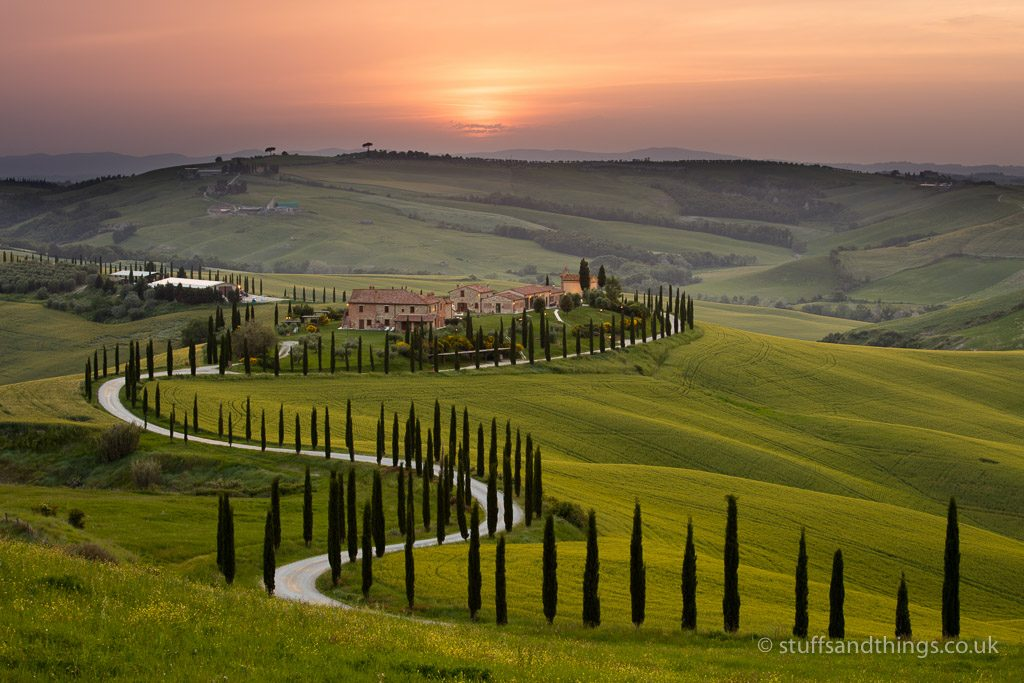 Sunset over the Agriturismo Baccoleno near Asciano in Tuscany