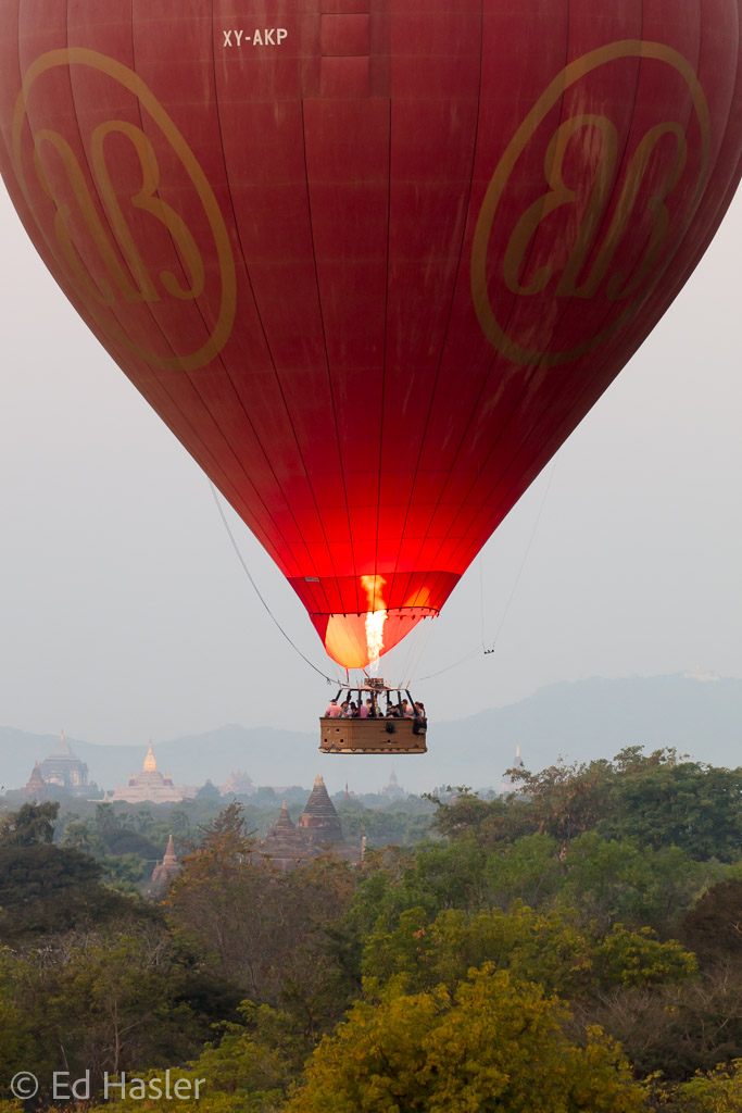 The balloon starts to rise in the dawn sky