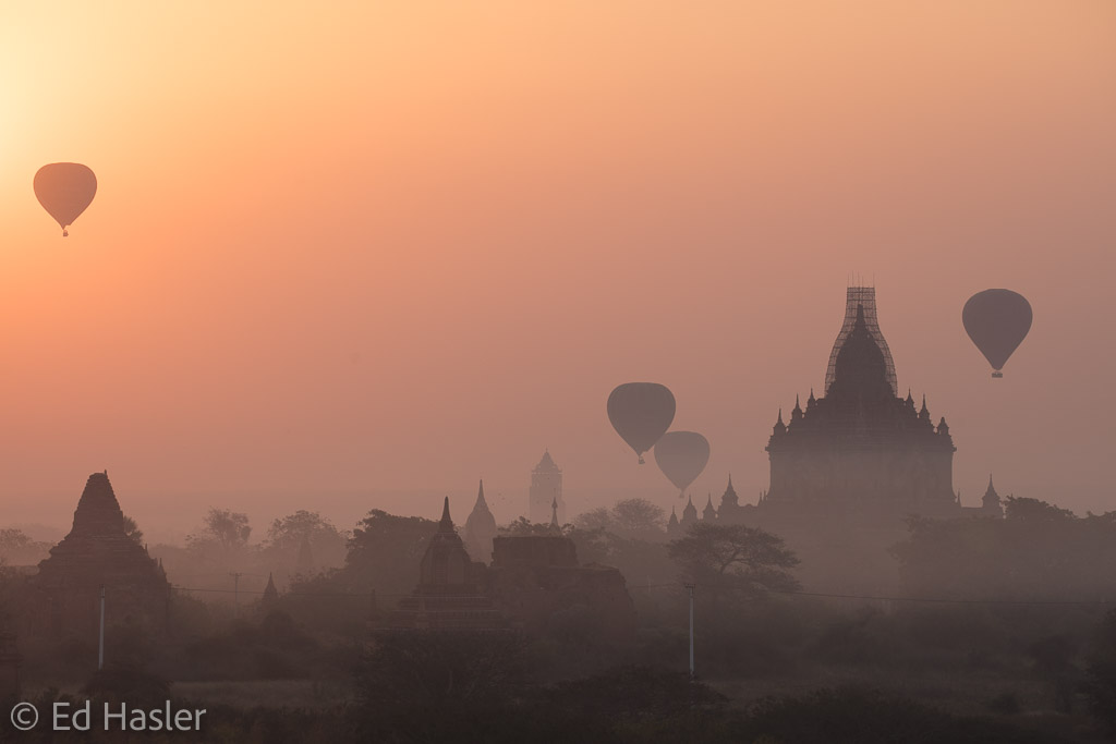 Watching balloons fly over temples at dawn