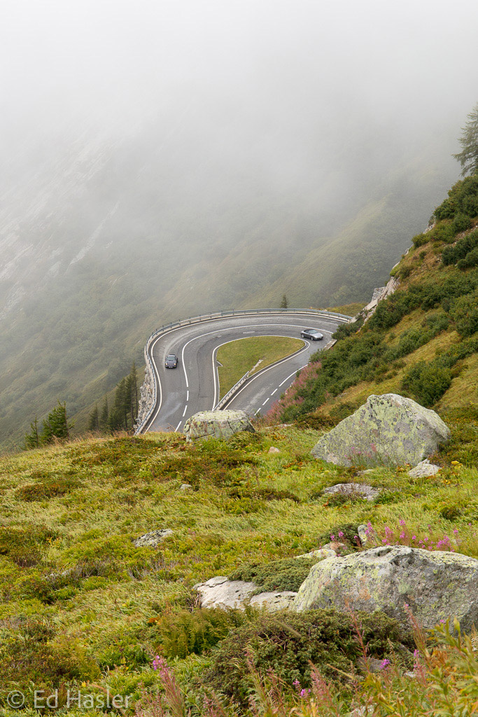 Hairpin bend in the mist on the Grimsel Pass