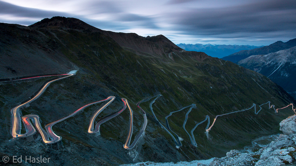 Light trails on the Stelvio Pass at night