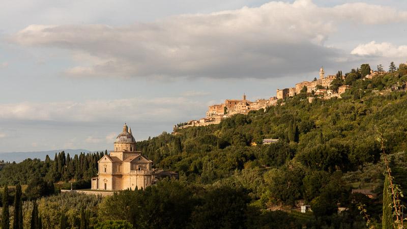 San Biagio Church and Montepulciano at Sunset