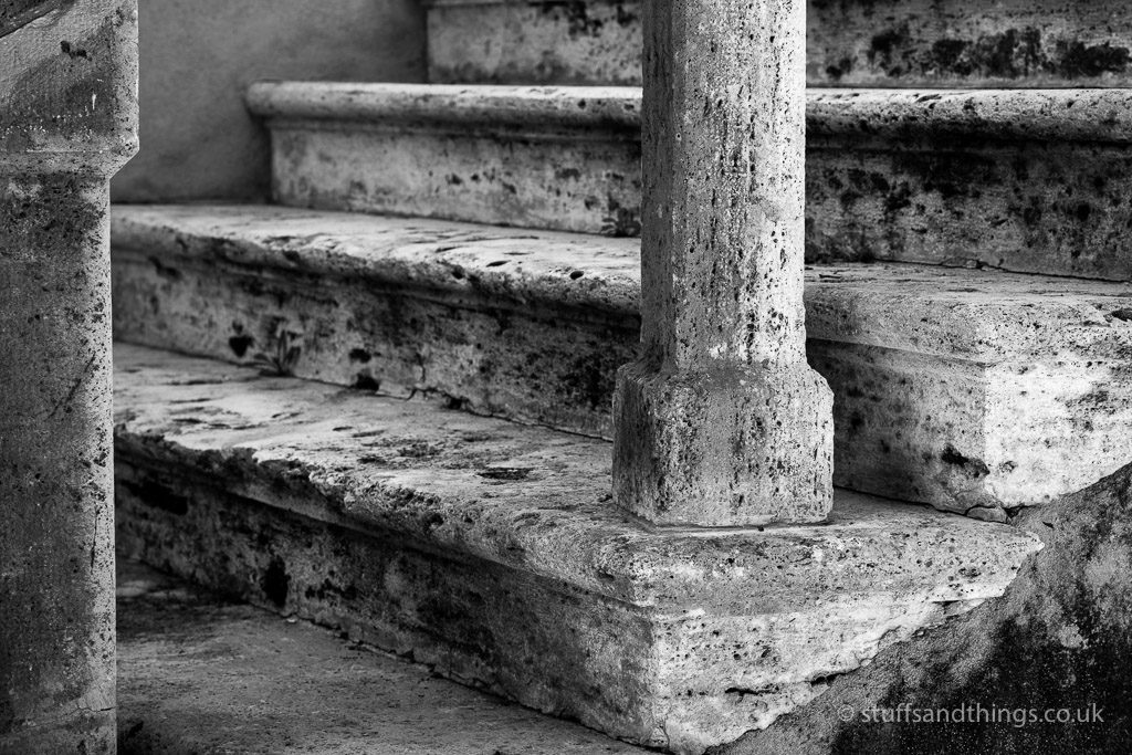 Stone steps at Lucignano d'Asso in Tuscany